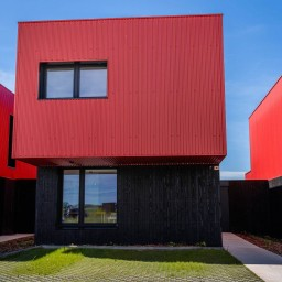 maison container rouge et noire